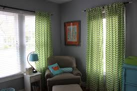 Green Nursery Curtains Teal Blue Lime Green Bright Orange Modern Boy Nursery Chevron