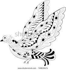 doodle dove open wings fairytale bird stock vector 749638474