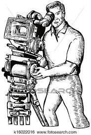 stock illustration of cameraman movie director filming vintage