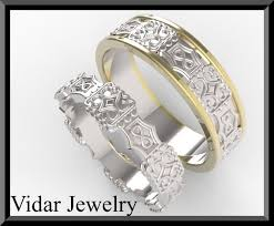 his and wedding ring set unique his and hers two tone gold wedding ring set vidar jewelry