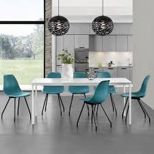 Esszimmer Designer St Le En Casa Esstisch Mit 6 Stühlen Weiß Türkis 180x80cm Küchentisch
