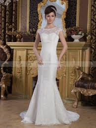 Mermaid Wedding Dresses Mermaid Wedding Dress With Floral Details And See Through Shoulder