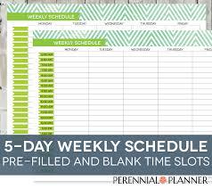daily schedule printable editable times half hourly weeklyhourly