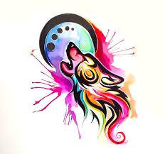 watercolor tribal wolf tattoo design