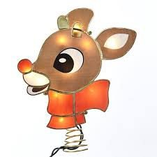 rudolph the nosed reindeer tree topper lighted retro