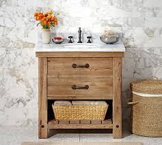 Pottery Barn Bathroom Vanities Benchwright Reclaimed Wood Single Sink Console Wax Pine Finish
