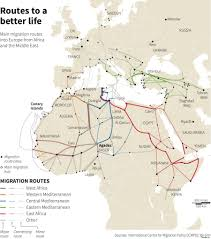 Map Of Middle East And North Africa by Mediterranean Migrant Crisis Map Shows Routes Used To Get To
