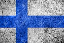 Flag Rsa Flag Of Finland Or Finnish Banner On Rough Metal Background Stock