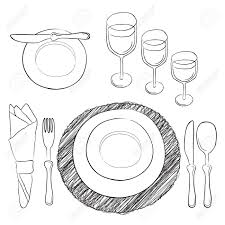 vector table setting and clear tableware and eating