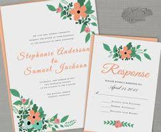 Backyard Wedding Invitation by Floral Antlers Wedding Invitation Coral Flowers Antler Rustic