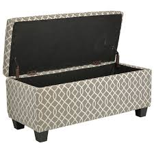 Ottoman Hinges Materials Wood Frame Fabric This Storage Bench In Grey And