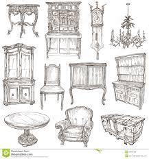 Wohnzimmerm El Weiss Möbel Handzeichen Auf Weiß Stock Abbildung Bild 54815166