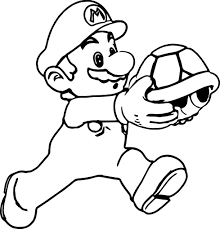 super mario running and holding turtle coloring page wecoloringpage