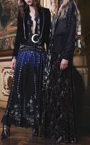 roberto cavalli star printed silk georgette long dress in blue lyst