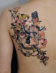 amazing skull butterfly tattoos on shoulder real photo pictures