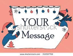 doodle 4 blank sheet banner message two snowmen stock vector 351232565