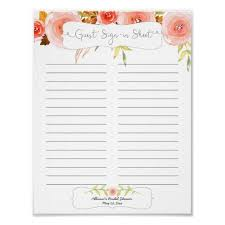 wedding guest sign in bridal shower guest sign in sheet blush floral zazzle