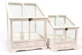 set of 2 tea garden distressed white wash table top terrarium