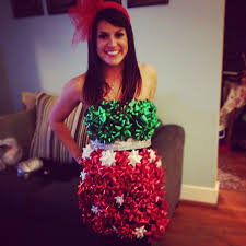 bags of bows tacky christmas dress using several bags of bows and hot glue you