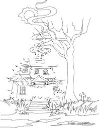 halloween haunted house dot to dot game coloring pages hellokids com