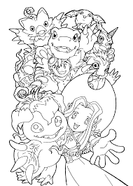 digimon team anime coloring pages for kids printable free