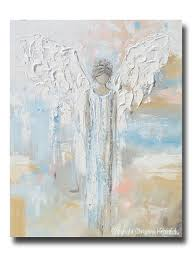 contemporary home decorations giclee print abstract angel painting modern gallery wall art blue