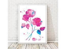 watercolor print flower watercolor flower art flower print rose