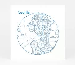 Portland Neighborhood Map Poster by Archie U0027s Press Circle Map Of Seattle At Buyolympia Com
