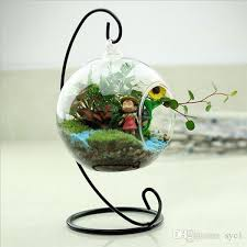 Round Glass Vase New Clear Glass Round With 1 Hole Flower Plant Stand Hanging
