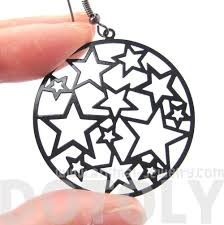 star outline cut out round disk shaped dangle drop earrings in