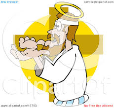jesus holding his hands out at the cross clipart illustration by