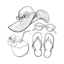 summer time vacation attributes hat sunglasses flip flops