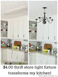 new 4 00 thrift store light fixture in the kitchen kitchen makeover