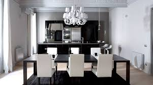 Black Chandelier Dining Room Amusing Black Dining Table With White Dining Chair Ideas