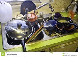 Dirty Dishes In Kitchen Sink Royalty Free Stock Photography - Dirty kitchen sink