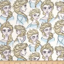 Disney Frozen Knit Elsa Sketch Discount Designer Fabric Fabric