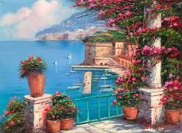 peinture de bord de mer la peinture italienne sorrento fleurs bord de mer panorama