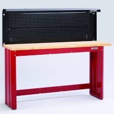 6 ft red workbench with butcher block top and backwall