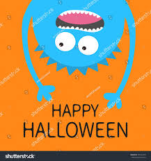 Halloween Monster Hands Happy Halloween Card Screaming Monster Head Stock Vector 705142978