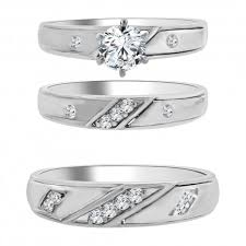 engagement and wedding ring sets sterling silver trio ring set