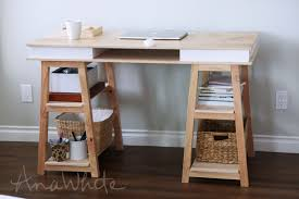 Diy Trestle Desk White Sawhorse Storage Leg Desk Diy Projects