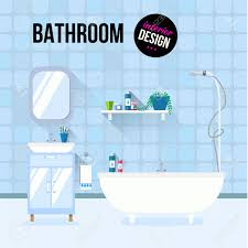 bathroom interior design with sink and shampoo modern flat design
