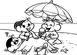 turma da monica summer beach coloring page wecoloringpage