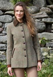 harris tweed lottie jacket in soft green tweed with corduroy trim
