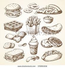 fast food sketch set detailed hand drawn illustrations on behance