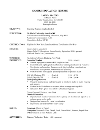 Sample Kindergarten Teacher Resume Pre K Teacher Resume
