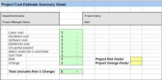 Excel Costing Template Project Cost Estimating Spreadsheet