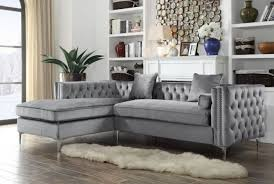 Left Sectional Sofa Chic Home Da Vinci Velvet Modern Contemporary Button Tufted With