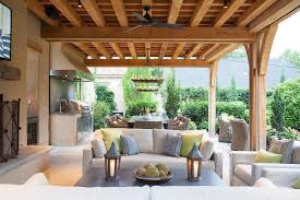 Covered Backyard Patio Ideas Covered Patio With Outdoor Kitchen And Zinc Outdoor Dining Table