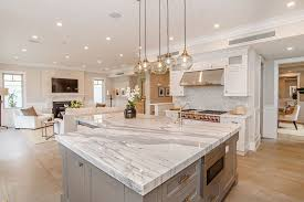 One Wall Kitchen Designs With An Island Traditional Kitchen With Complex Marble Counters U0026 Undermount Sink